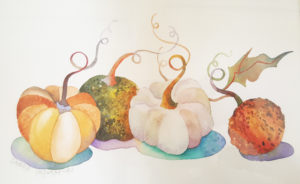 Watercolor painting of small pumpkins